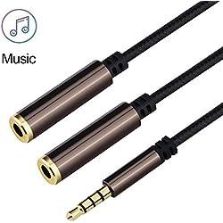 Joyguard Splitter Audio Jack, Double Jack 3.5mm Nylon Tressé Mâle vers 2 Femelle Câble Adaptateur pour Casques Audio, Enceintes, Smartphones, Tablettes, Lecteurs MP3 et Plus [Marron]