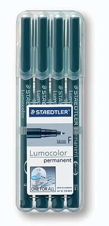 Staedtler Lumocolor 318-9WP4HZ Folienstift, permanent, 4 Stück in aufstellbarer Staedtler-Box, schwarz