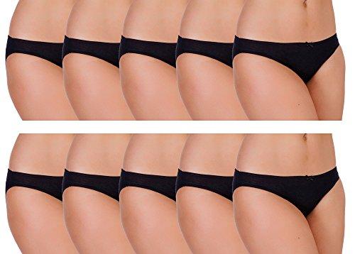 Anucci Damen Slip Taillenslip, Einfarbig Schwarz - 10 x Black