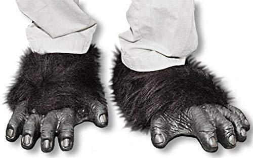 Schimpanse Fuß Kostüm - Horror-Shop Schwarze Gorilla Füße aus Latex mit Kunstfell als Schuhüberzieher