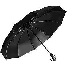 Rovtop Paraguas Automático Plegable con 10 Costillas Reforzadas Compacto Plegable Clásico Resistente Contra el Viento y la Lluvia