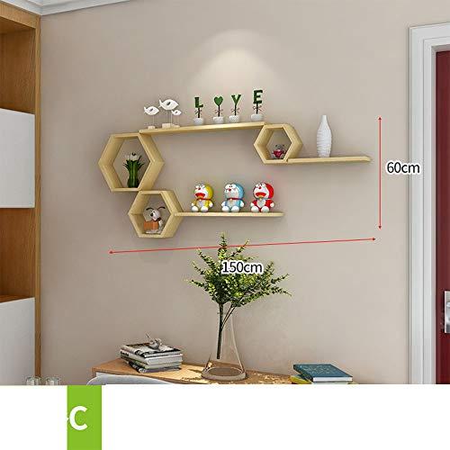 REGAL HUO Massivholz-Wand Freies lochendes Wohnzimmer-Fernsehhintergrund-Wand-Dekoration (größe : C)