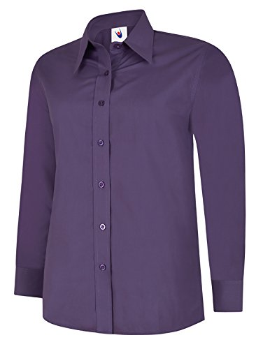 Donna Popeline T-shirt Manica Lunga Camicetta Casuale Formale Business Lavoro Uniforme Viola