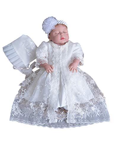 Baby Taufkleid Festlich Kleid Hochzeit Partykleid Ballettröckchen - Niedlich Blume Schnüren Kleider mit Hut ()