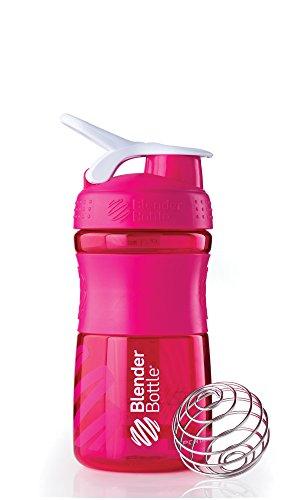 BlenderBottle Sportmixer Tritan Shaker | PRotein Shaker | Wasserflasche | Diät shaker (20oz / 590ml) - Pink Transparent Mini Shaker Set