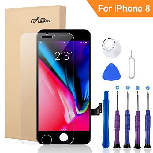FLYLINKTECH LCD Touchscreen Für iPhone 8 Display Ersatz Bildschirm Front Komplettes Glas mit Werkzeuge Für iPhone 8 Schwarz (Für iPhone 8, Schwarz) -