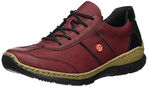 Rieker Damen N3220 Sneaker, Rot (vino/schwarz), 40 EU
