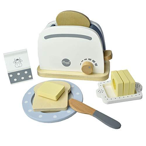 Meppi Holz Toaster Set für die Kinderküche / Spielküche - Haushaltsgeräte aus Holz