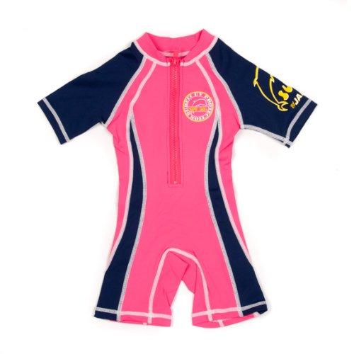 Surfit Mädchen Vorderseite Short Sleeve Neoprenanzug, Mädchen, Front Facing Shorty Wetsuit, Navy/Pink