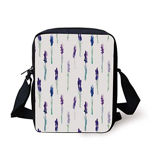 Lavender,Abstract Watercolor Art Style Flowers on Stems Springtime Nature,Purple Turquoise Navy Blue Print Kids Crossbody Messenger Bag Purse -