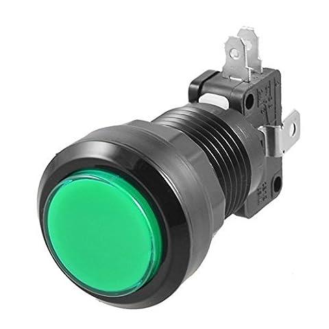 Dcolor Vert LED Lampe 24mm Dia Rond Bouton poussoir avec Fin de Course pour Jeu d'Arcade Video