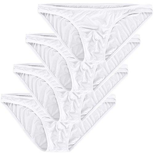 Adorneve Herren Dessous Einfache Einfarbige Atmungsaktive Tanga 4er Slips 4-pack Weiß