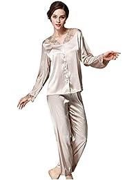 deb75eaef35b Donna Vestaglia Elegante Moda alla Moda Pigiama Tops Pantalone Due Pezzi  Set da Pigiama Primaverile Classiche