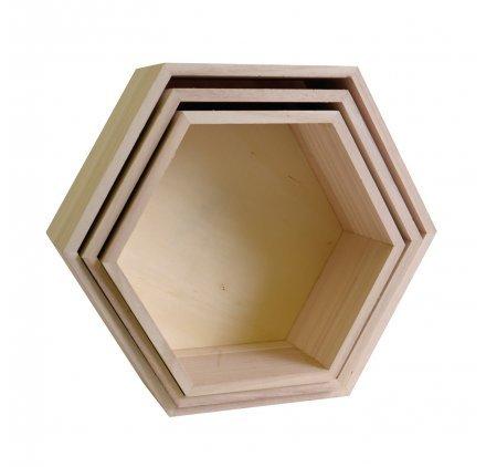 Artemio 3 estantes de Madera - Hexágono