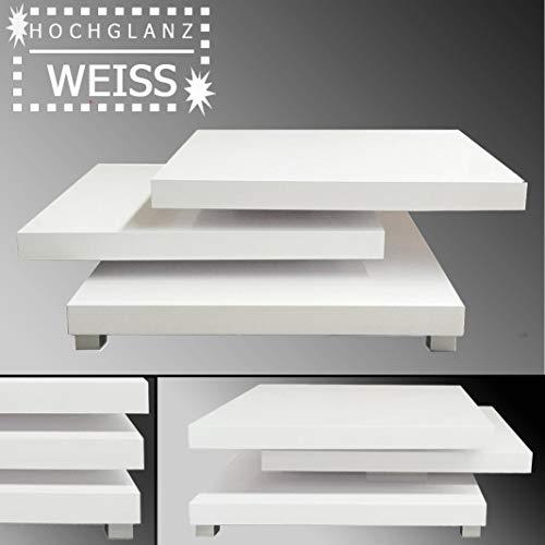 habeig Couchtisch Turn | 80 x 80 cm | Hochglanz weiß | drehbar schwenkbar glänzend flach | Wohnzimmertisch Beistelltisch Sofatisch