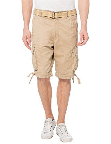 Lower East Herren Cargo Shorts mit Gürtel, Gr. 50 (Herstellergröße: L), Beige