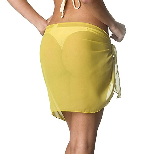 iBaste Bikini Bottom Cover up, Tinta Unita Chiffon Due-Usura Abito da Spiaggia Sarong Giallo