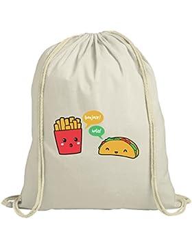 Lustiger natur Turnbeutel mit Taco Pommes Motiv von ShirtStreet