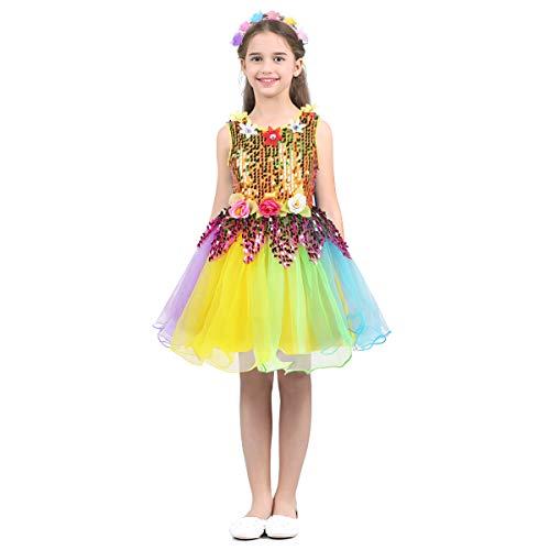 dPois Kinder Mädchen Pailletten Kleid Prinzessin Kleid Regenbogen Tanz Kleid mit Tuturock Kleinkind Tüll Kleidung mit Haarband Performence Karneval Kostüm Colorful - Karneval Kostüme Kleinkind