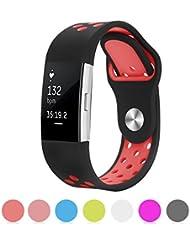 Kutop Fitbit Charge 2 correa, Soft Silicona Deportes Banda de repuesto de gel de sílice Fitness Banda ajustable para Fitbit Charge 2, (5.1-8.1in),Rojo