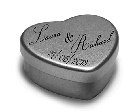 12 Personalised Wedding day Favours Heart Shaped Tins With Sweets Mints