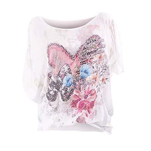 90c005e8a BHYDRY Camiseta de Gran tamaño para Mujer, con Cuello Redondo, Estampado y  teñido.