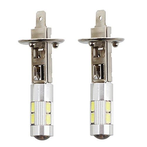 SODIAL(R) 2pcs 5W H1 5630 SMD 10 LED Ampoule Lampe Bulb Feu Blanc DC 12V Voiture