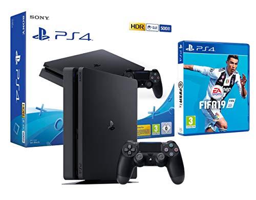 PS4 Slim 500 GB schwarz Playstation 4 Konsole + FIFA 19