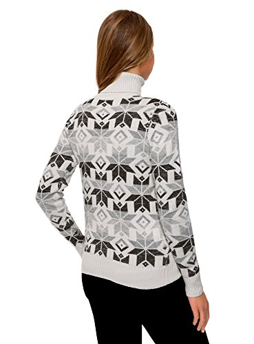oodji Ultra Damen Pullover mit Wintermuster Weiß (1225J)