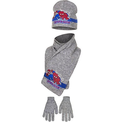 Spiderman - Ensemble bonnet, écharpe et gants - Garçon Gris