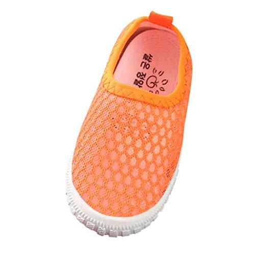 Sneaker für Kinder/Dorical Sommer Unisex Baby Jungen Mädchen Lauflernschuhe/Candy Farbe Mesh Atmungsaktiv Sportschuhe Outdoor Freizeitschuhe Krabbelschuhe mit Weiche Sohle 22-31EU(Orange,25 EU)