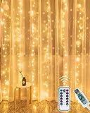 Kolpop Tenda Luminosa, [Timer] 3X3M 300 LED Tenda Luminosa Led,8 Modalità Impermeabile IP65 Tenda Luci Natale Esterno e Interni per Casa, Balcone, Salotto, Giardino,Terrazza (Bianco Caldo)