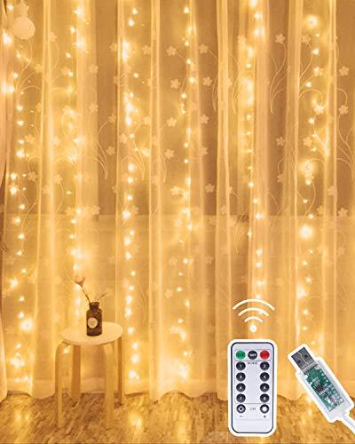 LED Lichtervorhang,Kolpop 3*3M 300er Lichterkettenvorhang USB Fenster Lichterkette Wand mit Fernbedienung&Timer 8 Modi Wasserfall Lichterkette Innen/Aussen Weihnachten Deko für Party Hochzeit-Warmweiß