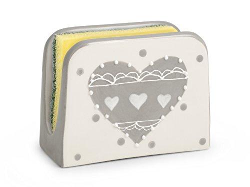 Weiß Keramik Serviettenhalter (H & H Herz grau Serviettenhalter aus Keramik, Keramik, Weiß und Grau, 11x 5x 9cm)