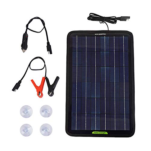ECO-WORTHY 12 V 10 Watt tragbares Solarpanel Akku Ladegerät Backup für Auto Boot mit Krokodilklemm-Adapter