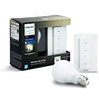 Philips Hue White - Bombilla LED Individual + Interruptor Inalámbrico, 9.5 W, E27, Iluminación conectada, Luz Blanca Cálida Regulable, Compatible con Amazon Alexa, Apple Homekit y Google Assistant