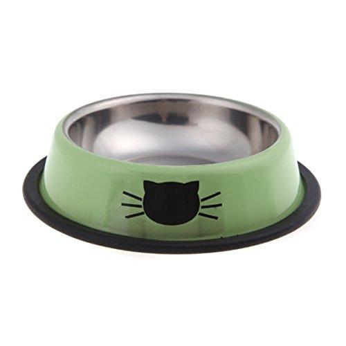 Gearmax Hundenapf Edelstahl Wasser - Futternapf mit Feste Gummikanten, für Kleine Haustiere, Hund / Katze und Andere (Grün)