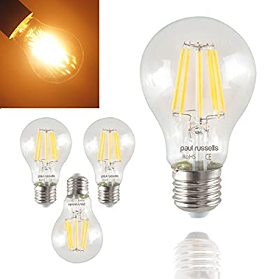 3 X paul russells Vintage Style Edison Screw LED Filament Bulbs 6W GLS Antique Globe A60 Light Decorate Home 360 Beam Lamp E27 ES 2700K Warm White 60W Incandescent Replacement [Pack of 3 Bulbs] by paul russells