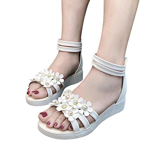 MOIKA Damen Sandalen, Mode Frauen Blume Strass Schuhe Rutschfeste Flache Sandalen Reißverschluss Rom Sandalen(EU39,Weiß