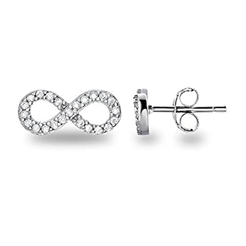 Détériorer Cupidon Argent sterling 925CZ Faux Diamant Ensemble complet classique Symbole Infini Boucles d'oreille à tige