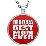 Rebecca Best Mom Ever - Circle Necklace Red / One Size, Pendentif Charme Plaqué Argent avec Collier, Cadeau pour Anniversaire, Noël