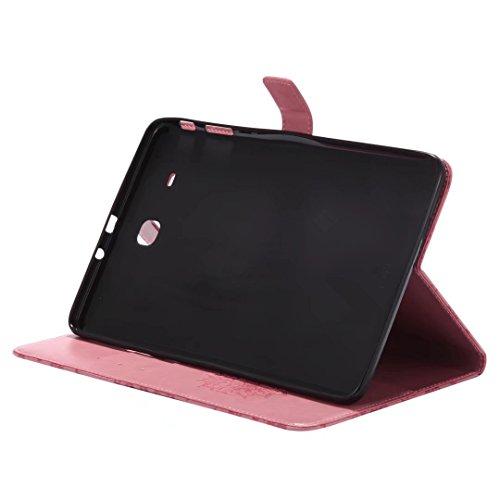 LEMORRY Samsung Galaxy Tap E 9.6 / T560 / T561 Custodia Pelle Cuoio Portafoglio Borsa Sottile Bumper Protettivo Magnetico (con Porta Carte di CRossoito) Morbido Silicone TPU Flip Cover Tavoletta Custo Rosa