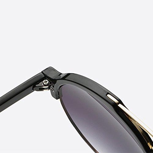 QHGstore Unisex pagina mezza montatura spessa Esterni Sport Eyewear PC classico telaio donne degli uomini degli occhiali da sole nero + blu del ghiaccio d9bnuZQ