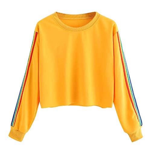 iHENGH Damen Langärmliges Regenbogen Patchwork O Shirt der Frauen beiläufiger Bluse Pullover(M,Gelb)