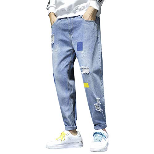 Jeans Classic Relaxed Fit Loose Casual Long Skate Board Stright Fashion Plus Size Stretch Pants Uomo (XXL,4- Blu)