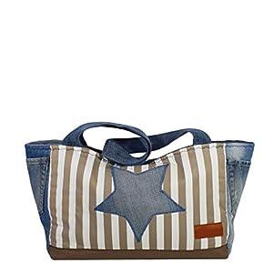 Große Shopper Tasche mit Stern, Handmade Jeans Schultertasche, Shopping Bag mit Streifen in Weiß und Beige – 27 x 54 x 15 cm