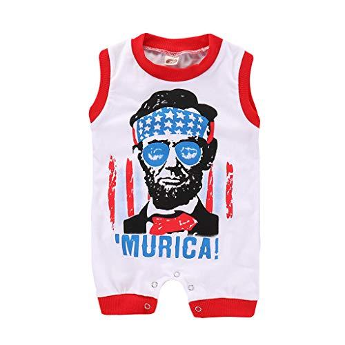 TICOK American Independence Day Lincoln Strampler mit kurzen Ärmeln Gr. M, rot