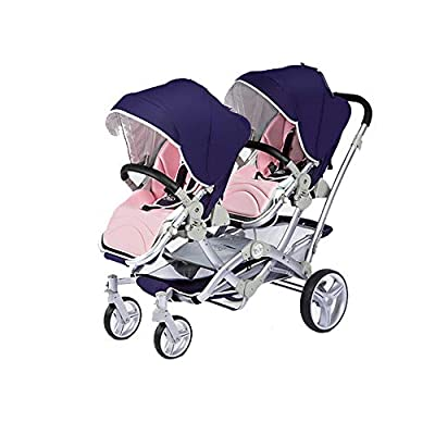 Baby Strollers Double Pushchair Twins Tandem Pushchairs, Reversible Seat Convertible Front And Rear Seats Lightweight with Convertible Bassinet Stroller Extended Canopy/Large Storage Basket,Blue