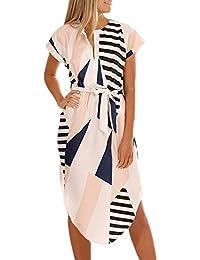 53a88f4c2e3 ECOWISH Sommerkleider Damen Kurzarm V-Ausschnitt Strand Blumen Kleider  Abendkleid Knielang