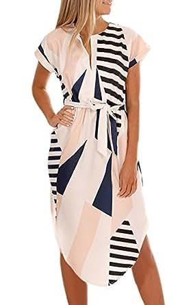 ECOWISH Sommerkleider Damen Kurzarm V-Ausschnitt Strand Blumen Kleider Abendkleid Knielang Beige XS